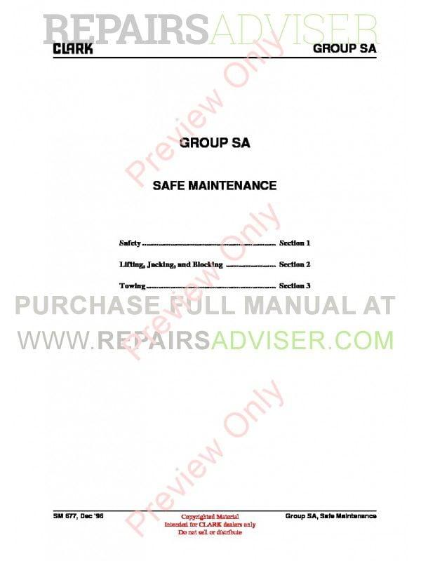 Clark EPG20-30, ECG20-32, ECG20-30X SM-677 Service Manual PDF, Clark Manuals by www.repairsadviser.com