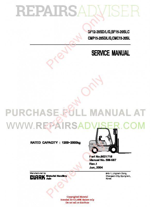Clark SF12-20SD/L/G, SF15-20SLC, CMP15-20SD/L/G, CMC15-20SL Lift Trucks SM-687 Service Manual PDF image #1