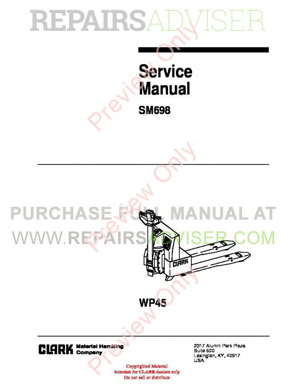 Clark WP45 Lift Trucks SM698 Service Manual PDF