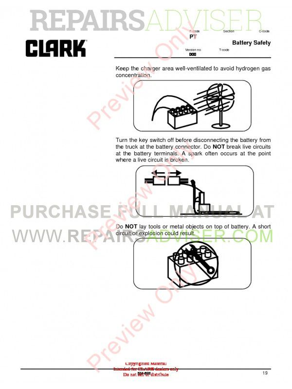 Clark WP45 Lift Trucks SM698 Service Manual PDF, Clark Manuals by www.repairsadviser.com
