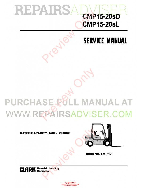 Clark CMP15-20sD, CMP15-20SL Lift Trucks SM-710 Service Manual PDF image #1