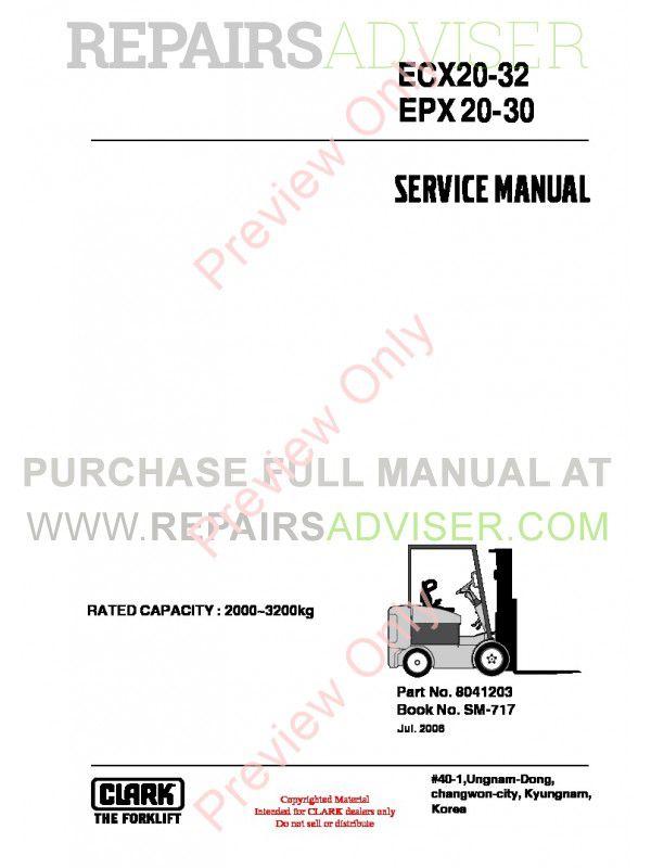 Clark ECX20-32, EPX20-30 Lift Trucks SM-717 Service Manual PDF, Clark Manuals by www.repairsadviser.com