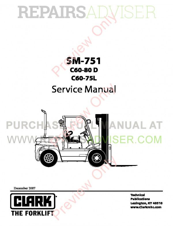 Clark C60-80D, C60-75L Lift Trucks SM-751 Service Manual PDF, Clark Manuals by www.repairsadviser.com