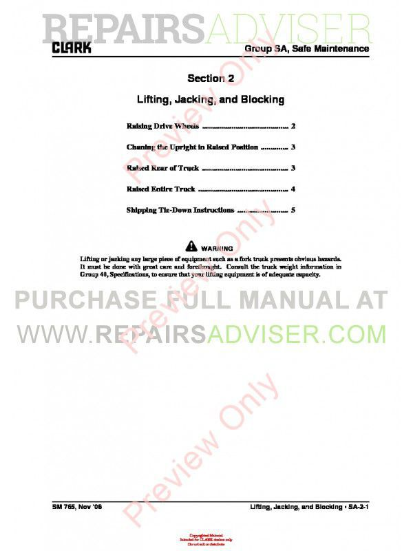 Clark GEX 20-30 Lift Trucks SM-765 Service Manual PDF, Clark Manuals by www.repairsadviser.com