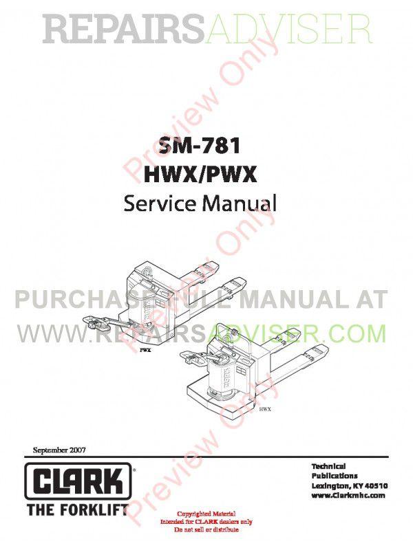 Clark ESX 12-25 Lift Truck SM-781 Service Manual PDF image #1