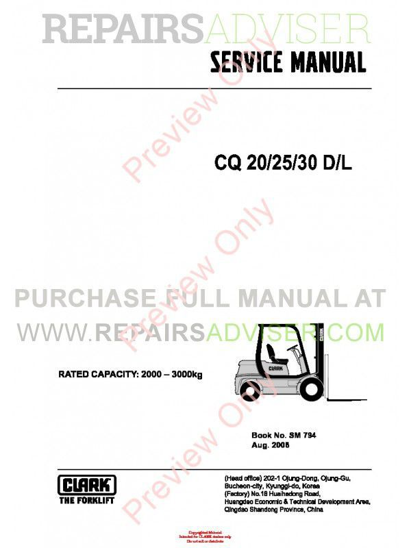 Clark CQ 20/25/30 D/L Lift Trucks SM 794 Service Manual PDF image #1