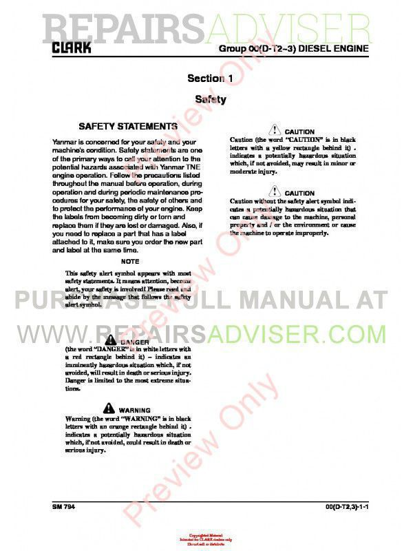 Clark CQ 20/25/30 D/L Lift Trucks SM 794 Service Manual PDF, Clark Manuals by www.repairsadviser.com