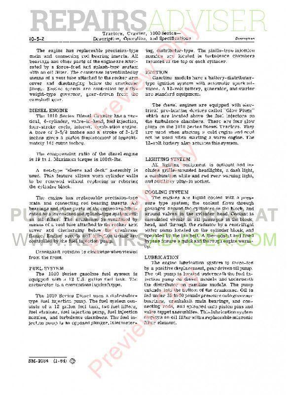 John Deere 1000 Series Crawler Tractors Service Manual SM-2034 PDF, John Deere Manuals by www.repairsadviser.com