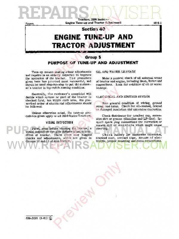 John Deere 2000 Series Tractors Service Manual SM-2035 PDF, John Deere Manuals by www.repairsadviser.com
