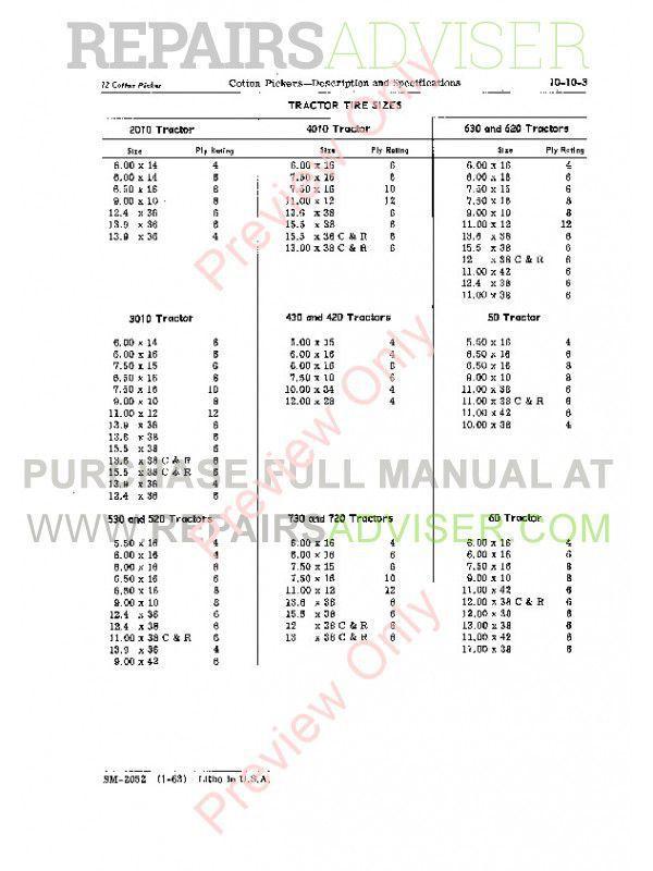 John Deere 11-12-22-99-122 Cotton Pickers Service Manual SM-2052 PDF, John Deere Manuals by www.repairsadviser.com