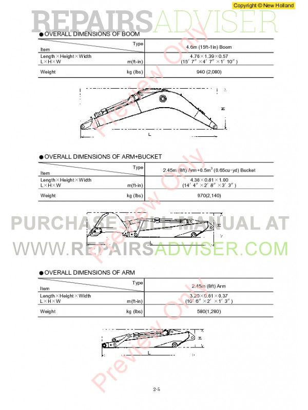 New Holland E115SR, E135SR Workshop Manual PDF, New Holland Manuals by www.repairsadviser.com