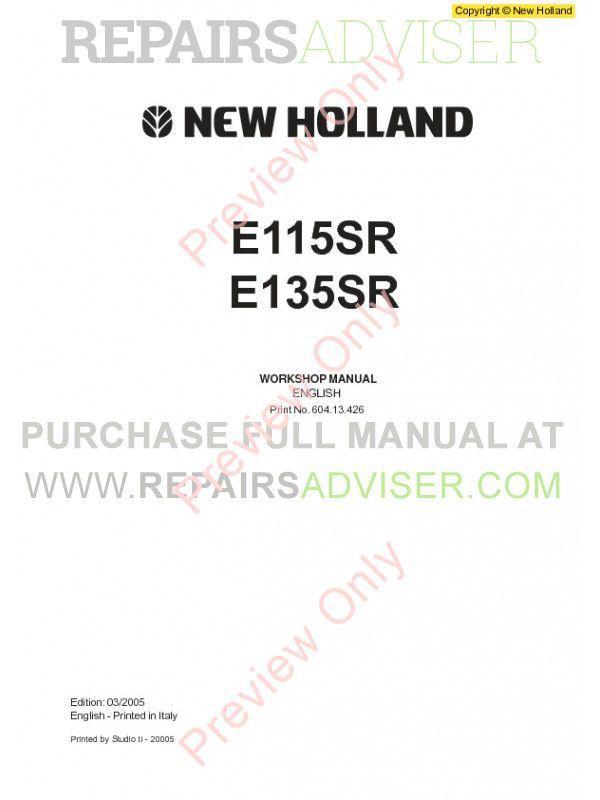 New Holland E115SR, E135SR Workshop Manual PDF