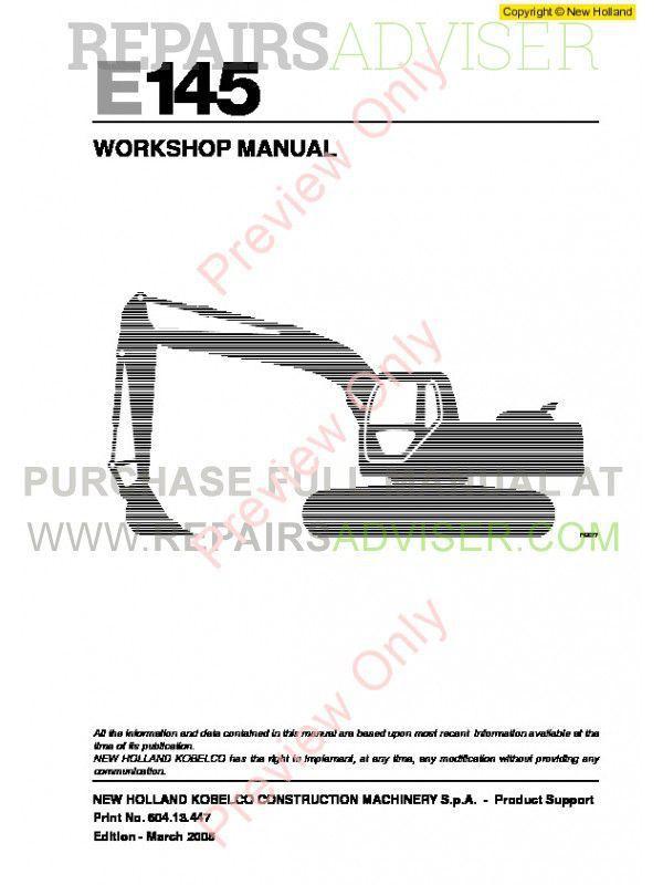 New Holland E145 Workshop Manual PDF