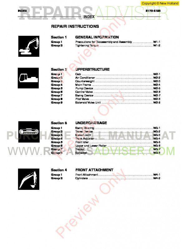 New Holland Kobelco E175, E195 Crawler Excavator Workshop Manual PDF on