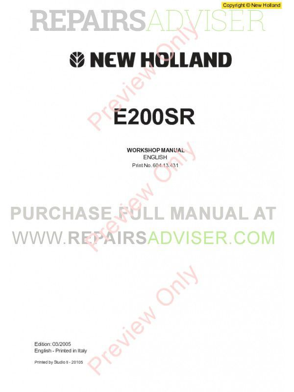 New Holland E200SR Excavator Workshop Manual PDF