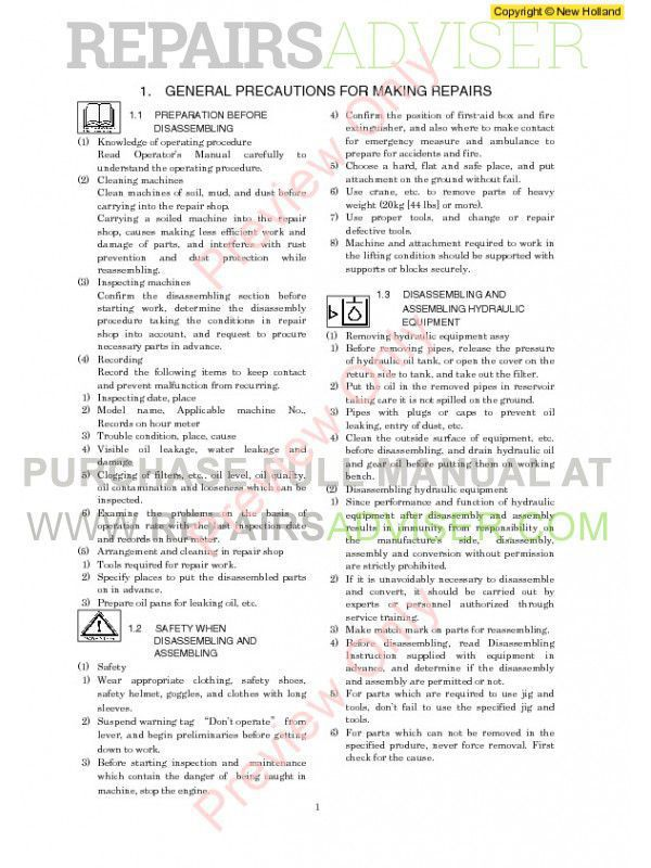 New Holland E200SR Excavator Workshop Manual PDF, New Holland Manuals by www.repairsadviser.com