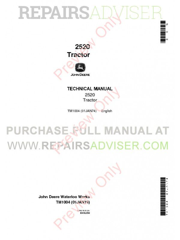 john deere 2520 tractor tm 1004 technical manual john deere 2520 tractor tm 1004 technical manual pdf