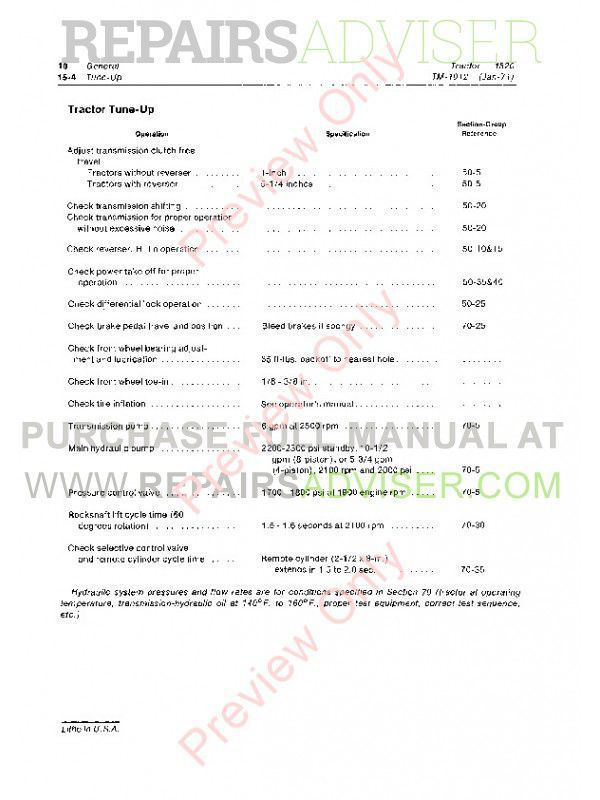 John Deere 1520 Tractor Technical Manual TM-1012 PDF, John Deere Manuals by www.repairsadviser.com