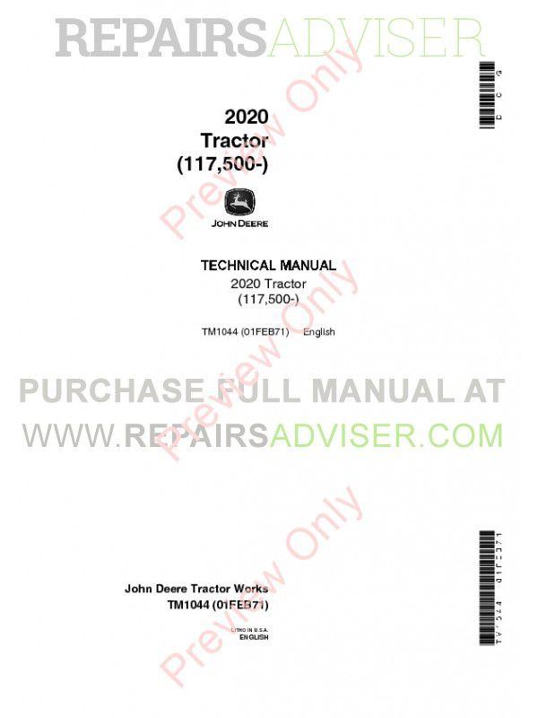 john deere 2020 tractor technical manual tm1044