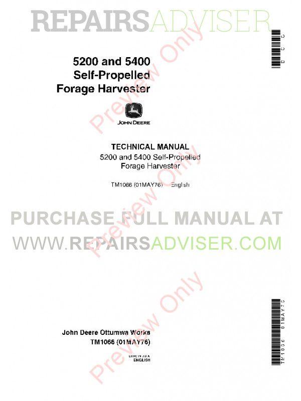 John Deere 5200 5400 Selfpropelled Harvester Technical Manual Pdf. John Deere 5200 And 5400 Selfpropelled Forage Harvester Technical Manual Tm1066 Pdf. John Deere. John Deere 5200 Diagram At Scoala.co
