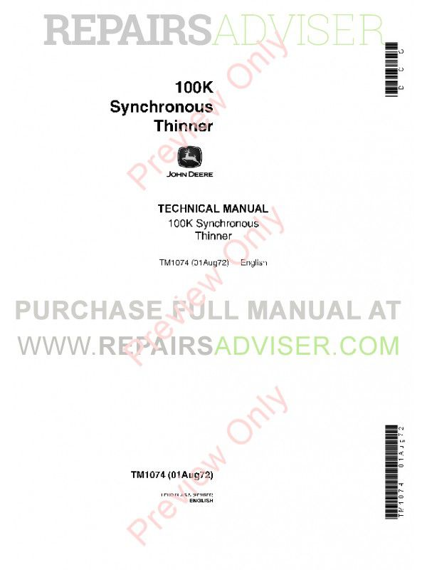 John Deere 100K Synchronous Thinner Technical Manual TM-1074 PDF image #1