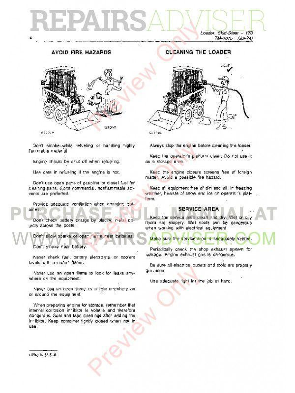john deere 170 skid steer loader tm-1075 technical manual pdf, john  deere manuals