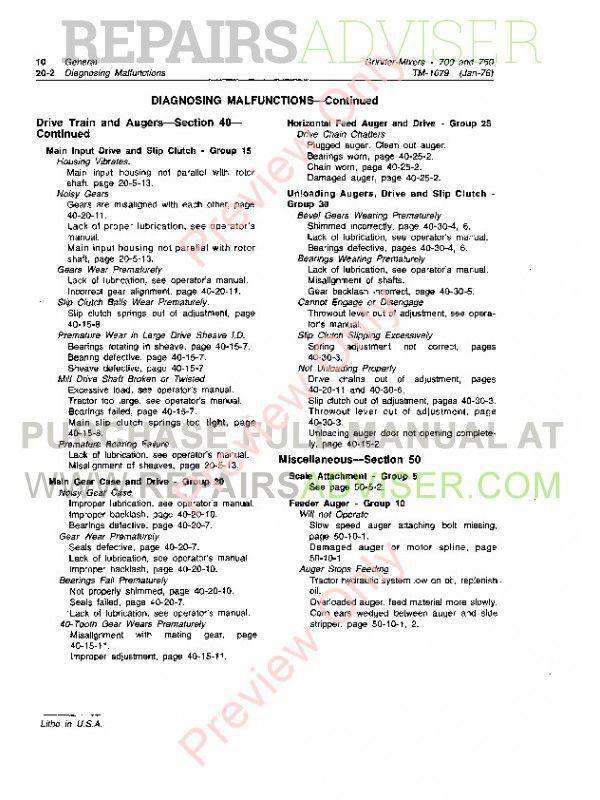 John Deere 700 and 750 Grinder-Mixers Technical Manual TM