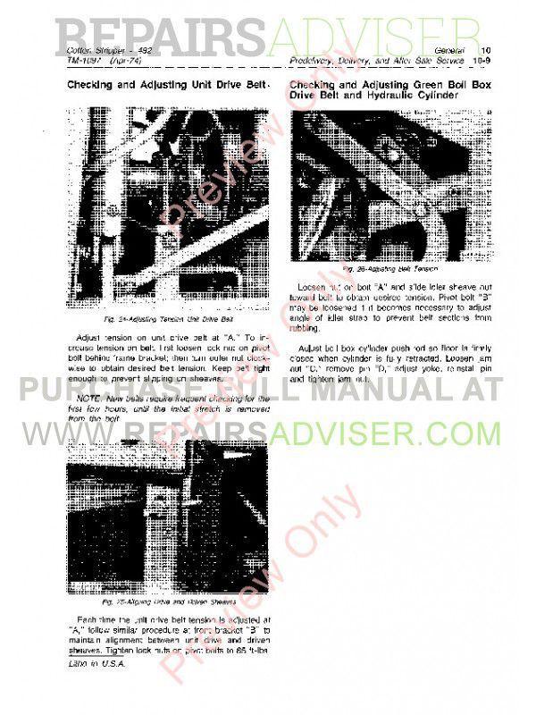john deere 482 cotton stripper technical manual tm