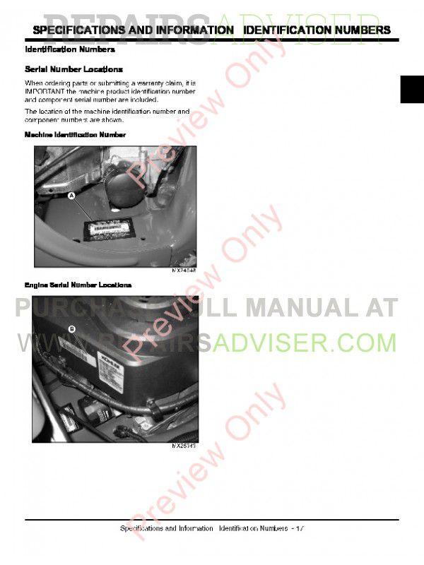 john deere z710a and z720a mid-frame ztrak mower technical manual  tm-111019 pdf