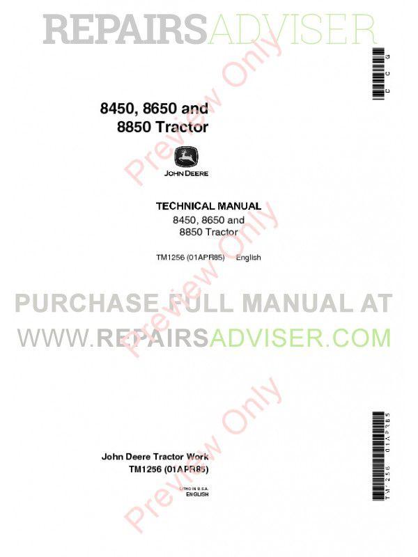 John Deere 8450 8650 8850 Tractor Technical Manual TM-1256 PDF image #1