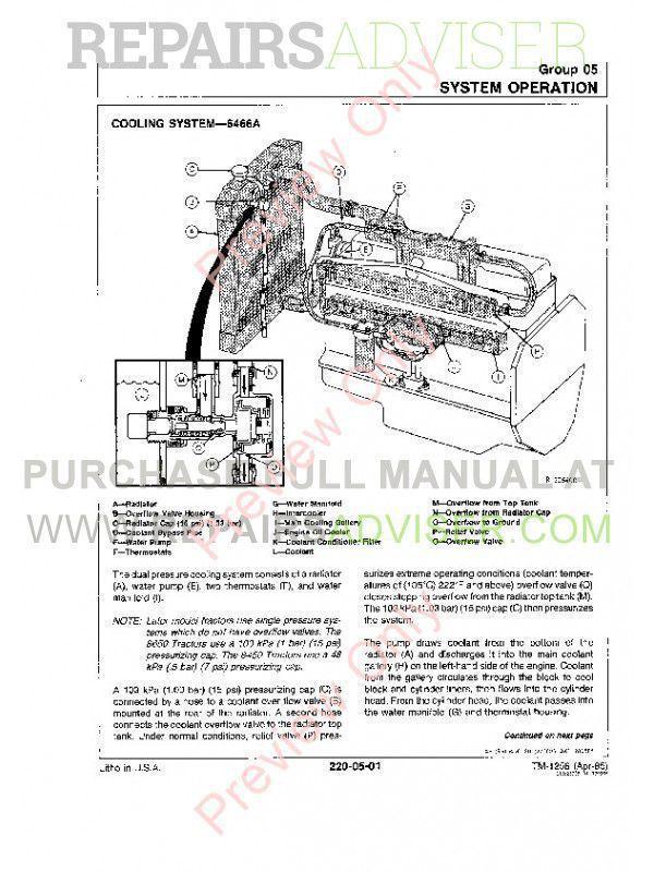 John Deere 8450 8650 8850 Tractor Technical Manual Tm 1256