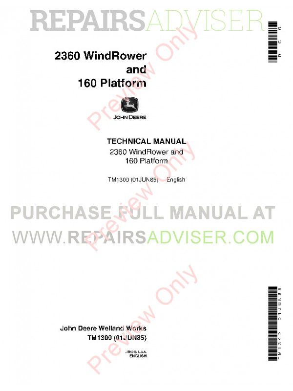 john deere 800 swather repair manual