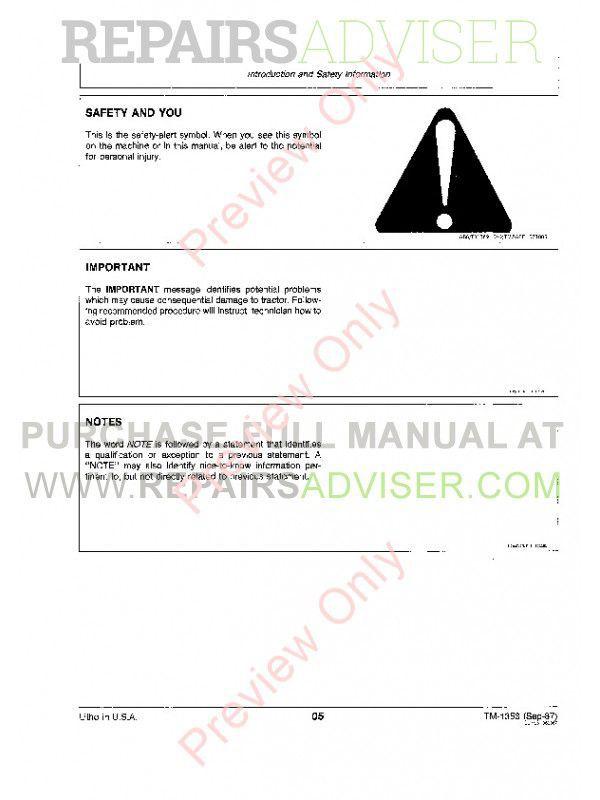 John Deere 4050 & 4250 & 4450 Tractors Technical Manual TM-1353 PDF, John Deere Manuals by www.repairsadviser.com