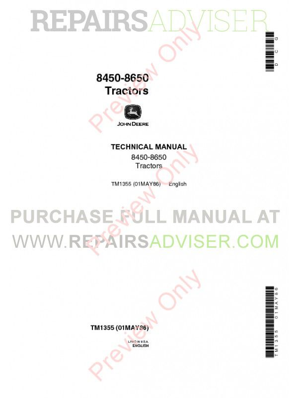 John Deere 8450-8650 Tractors Technical Manual TM-1355 PDF image #1