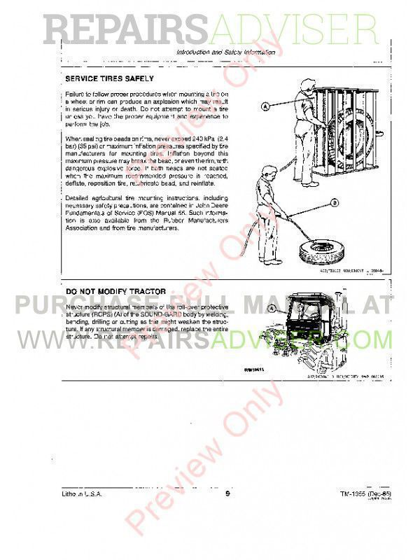 John Deere 8450-8650 Tractors Technical Manual TM-1355 PDF, John Deere Manuals by www.repairsadviser.com