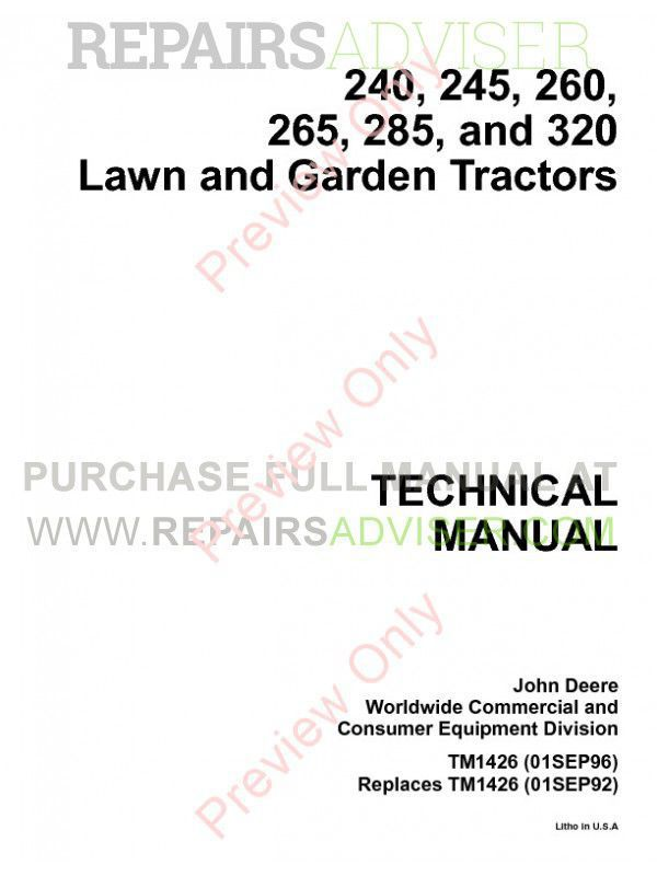 John Deere 240  245  260  265  285 And 320 Lawn And Garden Tractors Technical Manual Tm