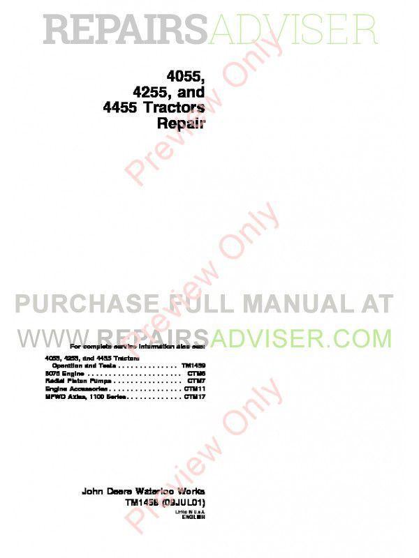 John Deere Tractors 4055 4255 4455 Repair TM-1458 PDF image #1