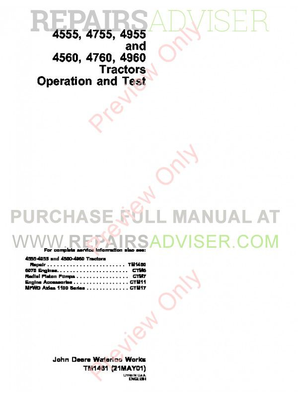 John Deere 4555, 4755, 4955 and 4560, 4760, 4960 Tractors Operation and Test Technical Manual TM-1461 PDF image #1