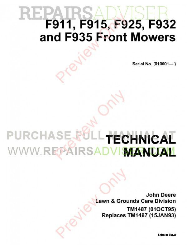 john deere f911, f915, f925, f932 and f935 front mowers technical manual  tm1487