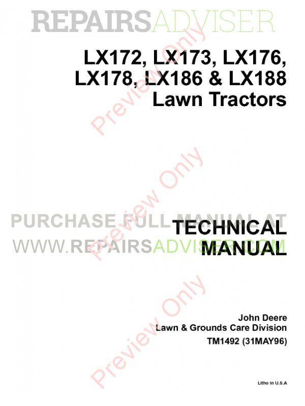 john deere lx lxaws lx garden tractors tm john deere lx172 lx173 lx176 lx178 lx186 lx188 lawn tractors techical