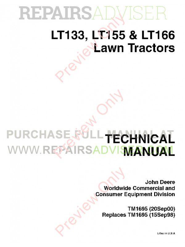 Tm Pdf X on John Deere Lawn Tractor Technical Manual