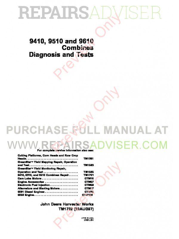 John Deere 9410 9510 9610 Combines TM-1701 Repairs + TM-1702 Diagnostics & Tests Manuals PDF image #1
