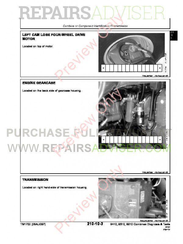 John Deere 9410 9510 9610 Combines TM-1701 Repairs + TM-1702 Diagnostics & Tests Manuals PDF, John Deere Manuals by www.repairsadviser.com