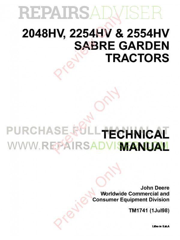 John Deere 2048HV 2254HV 2554HV Sabre Garden Tractors Technical Manual TM1741 PDF Download