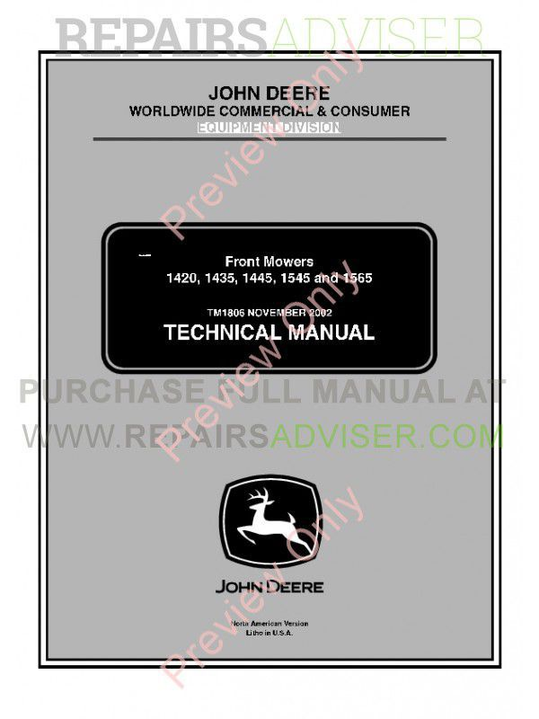 John Deere 1420, 1435, 1445, 1545 and 1565 Front Mowers Technical Manual TM-1806 PDF image #1