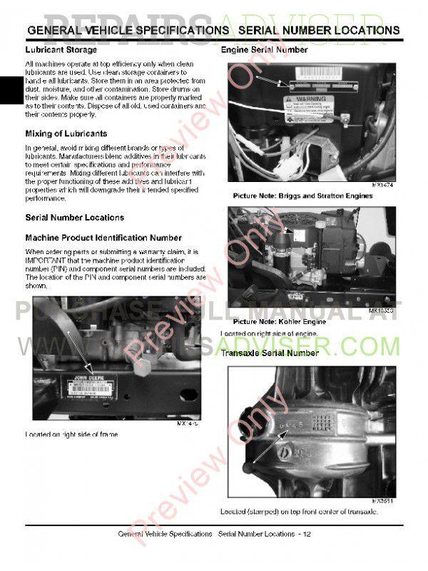 john deere sst15, sst16 and sst18 spin-steer lawn tractor technical  manual tm-