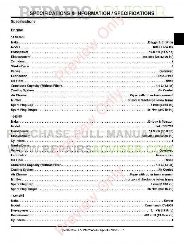 John Deere 14.542GS 1642HS 17.542HS Sabre Lawn Tractor Technical Manual TM-1948 PDF, John Deere Manuals by www.repairsadviser.com