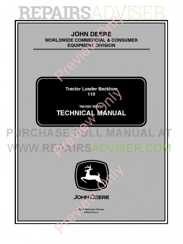 John Deere 110 Tractor Loader Backhoe Technical Manual TM1987 PDF
