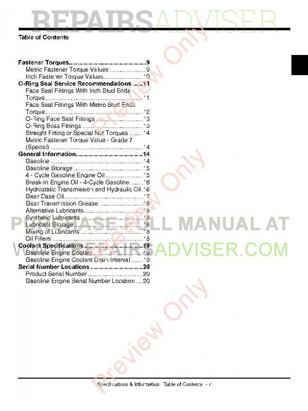 John Deere X465/475/485/575/585 Tractors Technical Manual PDF on