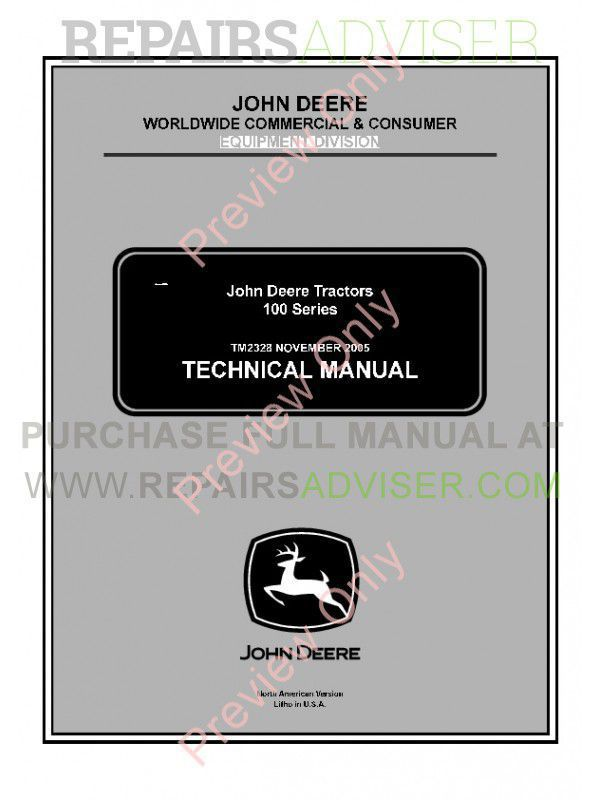 John Deere 100 Series Tractors Technical Manual TM-2328 PDF image #1